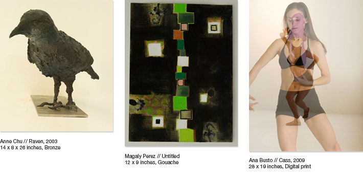 Anne Chu, Magaly Perez and Ana Busto's works. In the right, Ana Busto's  'Cass' (2009)