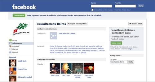 Euskaltzaleak-en facebooka.