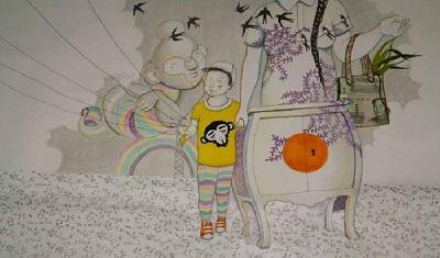 Leire Urbeltz margolariak Txinan sortu dituen lanetako bat