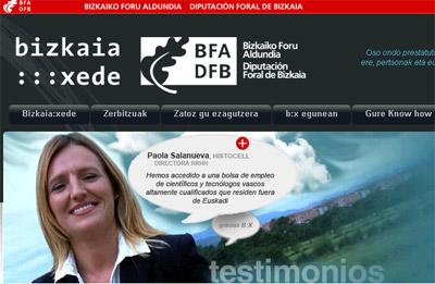 Bizkaia:Xede erakundearen webguneko irudi bat