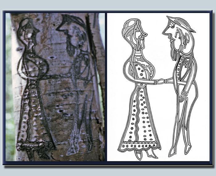 Euskal artzain batek Nevadako zuhaitz batean egin zuen marrazkia (argazkia Univ.NevadaReno)