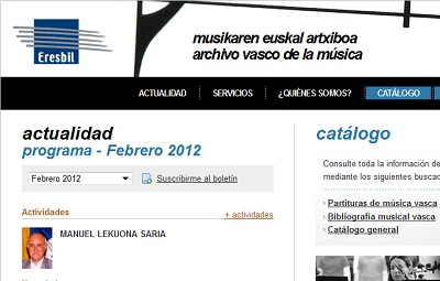 Eresbil, the Basque Music Archive's website