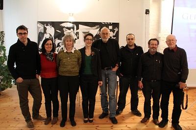 Berlingo Euskal Etxeko arduradunak inaugurazio ekitaldian parte hartu zuten historialari eta adituekin (argazkia Helena Falabino)