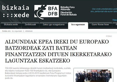 Announcement on Bizkaia:xede's website