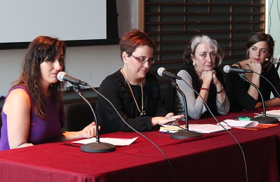 From left to right: Amaia Gabantxo (Chicago's Basque lecturer), Mari Jose Olaziregi (Etxepare Institute) and Arantxa Urretabizkaia and Eider Rodriguez writers