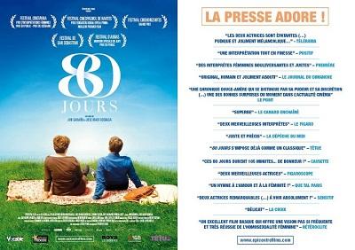 """""""80 egunean"""" filmearen kartela frantsesez eta frantses komunikabideen kritika baikorrak"""