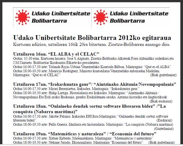 Uztailaren 16tik 20ra bitartean Bizkaiko Ziortza-Bolibarren garatuko den 'Udako Unibertsitate Bolibartarreko' egitaraua