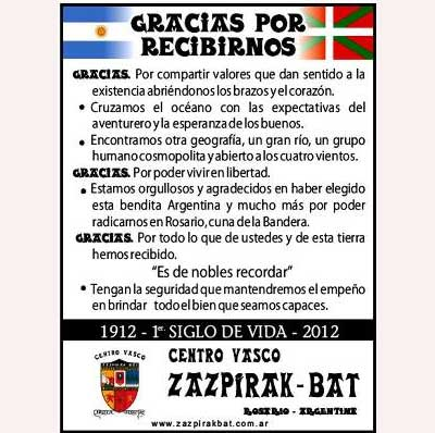 Rosarioko Zazpirak Bat euskal etxearen Mendeurreneko ekitaldietan parte hartzeko gonbidapena
