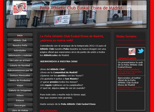 Aspecto de la portada de la página web que ha inaugurado la Peña Athletic Club Euskal Etxea de Madrid