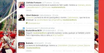 Gure twitterrean ikusi ditugun mezu batzuk, #euskaraeslhora kanpainaren baitan