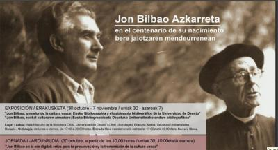 Poster promoting conference on Jon Bilbao at Deusto University