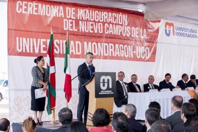 Iñigo Urkullu lehendakaria Mondragon-UCO unibertsitatearen inaugurazio ekitaldian hizlari (argazkia rekia)