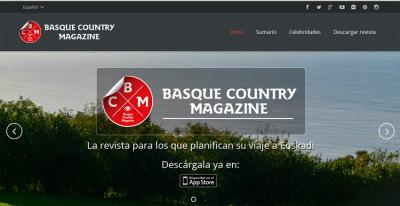 Front page of the Basque Country Magazine website available for iPhone and soon for Android
