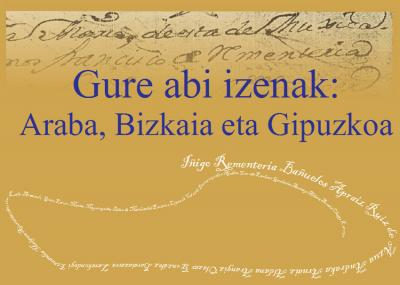 """Cover of the book """"Gure Abi Izenak,"""" that includes a list of Manors in Araba"""