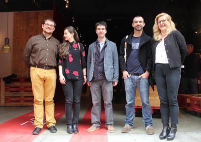 Xabi Paya (DSS2016), Ainara LeGardon, Jaime de los Ríos, Eneko Gil eta Aizpea Goenaga (Etxepare), aurkezpenean (argazkia Etxepare)