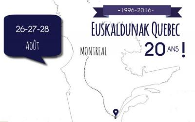 Euskaldunak Quebec elkartearen 20. urteurreneko ekitaldien afitxa