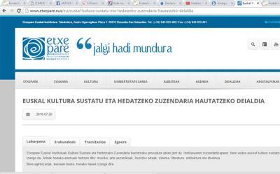 Deialdia Etxepare Euskal institutuaren webgunean