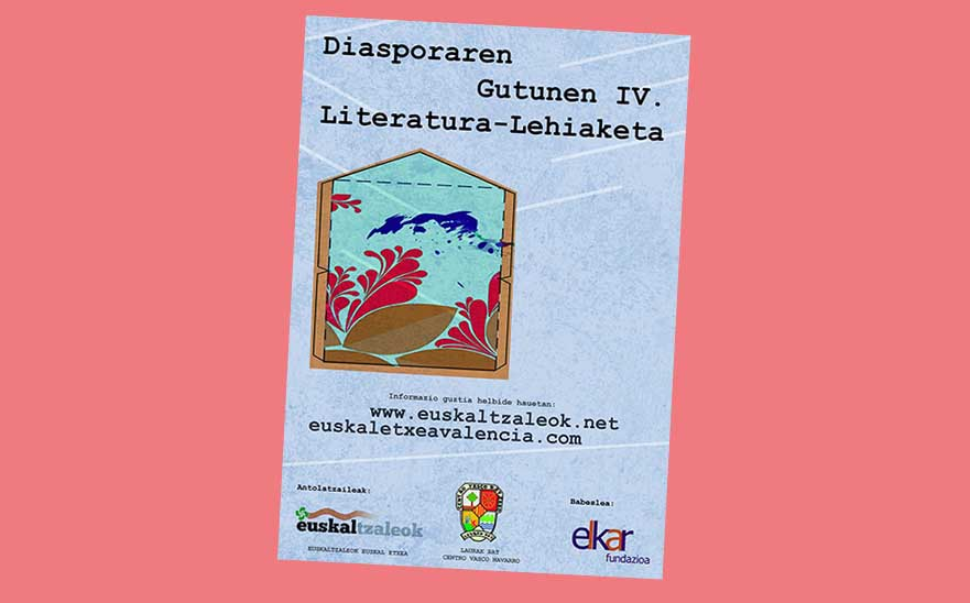 Poster for the 4th Letters of the Diaspora Contest organized by the Euskaltzaleok and Laurak Bat Basque Clubs in Valencia