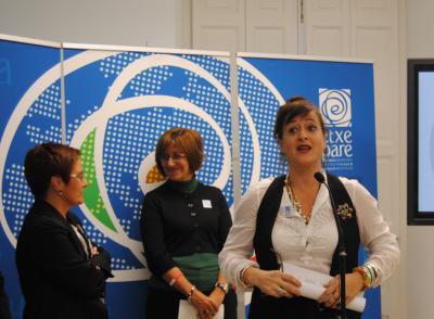 Presentation of the Etxepare Basque Institute in 2010 with Mari Jose Olaziregi and the Minister of Culture at the time, Blanca Urgell and Aizpea Goenaga (photoEuskalKultura.com)