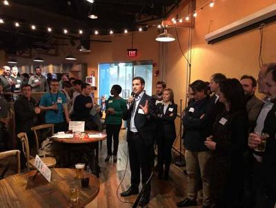 Presentation by Imanol Pradales and event by the Provincial Council of Bzkaia and Bizkaia Talent at the Cafe Ventura in Boston on March 9, 2017