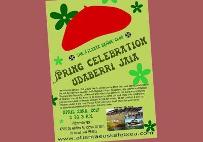 Cartel del Udaberri Jaia o Spring Celebration (Fiesta de Primavera) del Atlanta Basque Club