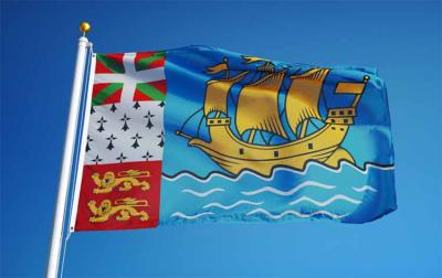 Bandera de Saint Pierre y Miquelon, en la que se incrusta la ikurriña, en representación del componente histórico vasco del archipiélago (arg. Shutterstock.com)