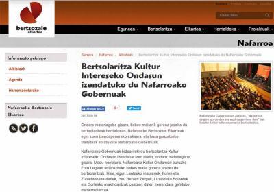 Bertsolarien Elkarteko webguneak berehala islatu du Nafarroako Gobernuak atzo adierazitako pausoa