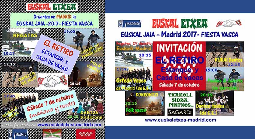 Cartel e invitación de la Fiesta Vasca 2017, organizada por Euskal Etxea de Madrid este próximo sábado en El Retiro