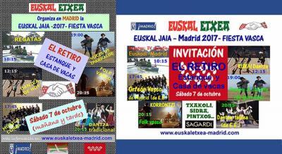 Poster invitation for the 2017 Basque Festival next Saturday at the El Retiro Park organized by the Madrid Euskal Etxea