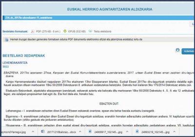 Kanpoan den Euskal Komunitatearentzako Zuzendaritzak sinatutako 2017ko Ebazpena