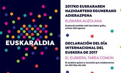 """ENE Adierazpena 2017:  """"Euskara auzolan. Euskarak lankide nahi eta behar gaitu, urtean 365 egunez"""""""