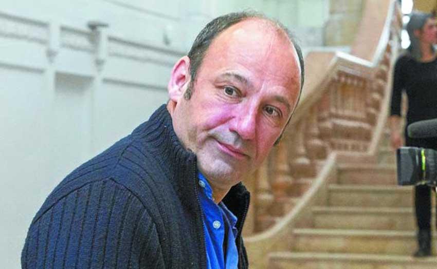 El sindicalista de Iparralde Jean-Noël Etcheverry, 'Txetx', portavoz de la organización convocante, Artesanos de la Paz (foto Michelena-DV)