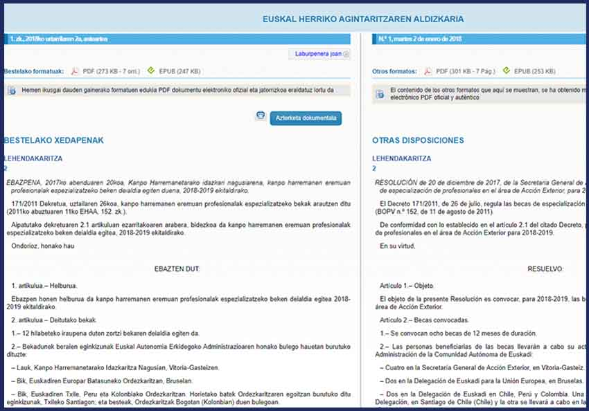 2018rako espezializazio beken deialdia EHAA buletinean argitaratuta