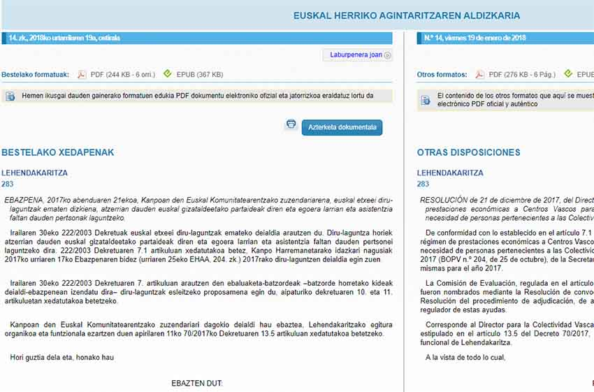 Resolution published in the BOPV-EHAA