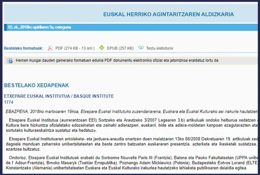 Etxepare Basque Institute's job announcement in the Official Bulletin of the Basque Country (EHAA-BOPV)
