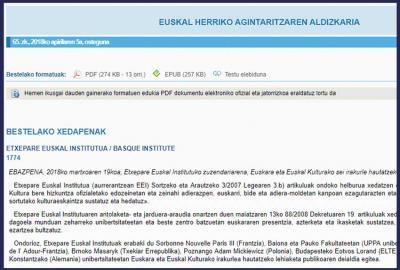 Convocatoria del Instituto Vasco Etxepare publicada en el Boletín Oficial del País Vasco (EHAA-BOPV)
