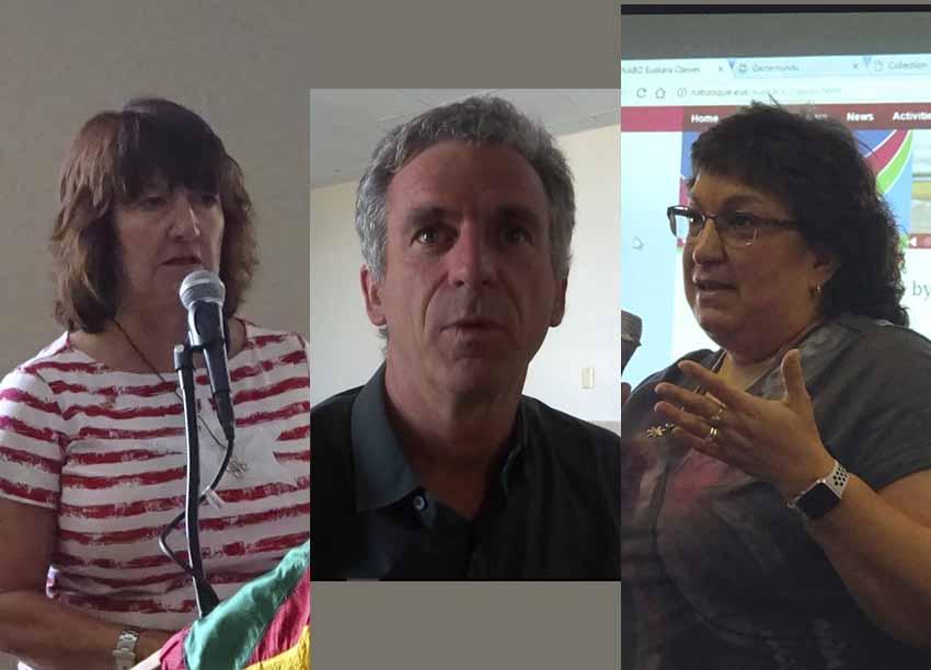 NABO mahai berritua 2108: ezker-eskuin, Mayie Petracek, diruzaina; Philippe Acheritogaray, lehendakaria; Kate Camino, idazkaria