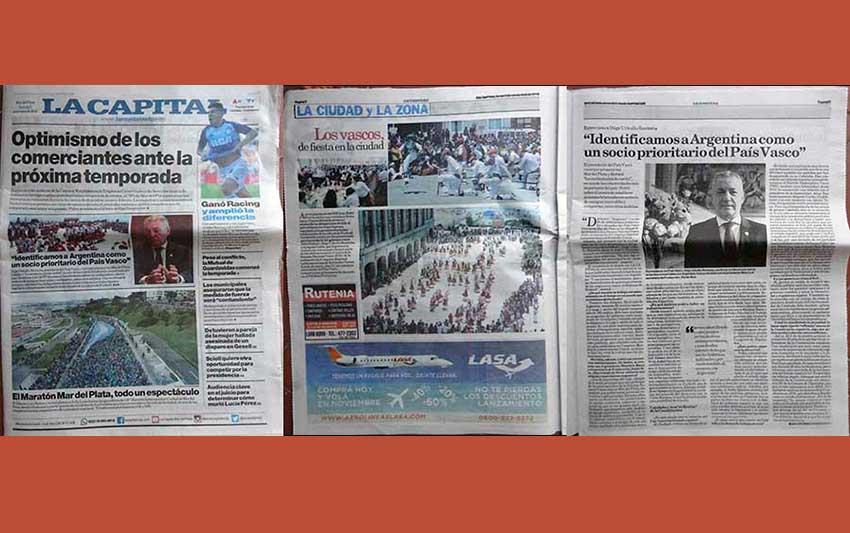 Eco de la visita del Lehendakari Urkullu a Mar del Plata: la noticia en portada y páginas 2 y 3 enteras, con entrevista (foto EuskalKultura.com)