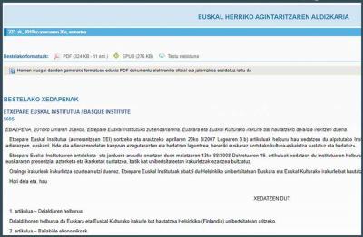 Etxepare Euskal Institutua-Basque Institute-ren deialdia 2018ko azaroaren 20ko buletinean argitara emana