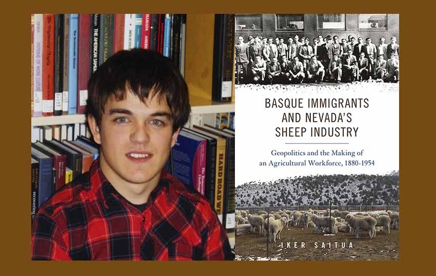 El historiador getxoztarra Iker Saitua y su primer libro, sobre los inmigrantes vascos y la industria ovina de EEUU