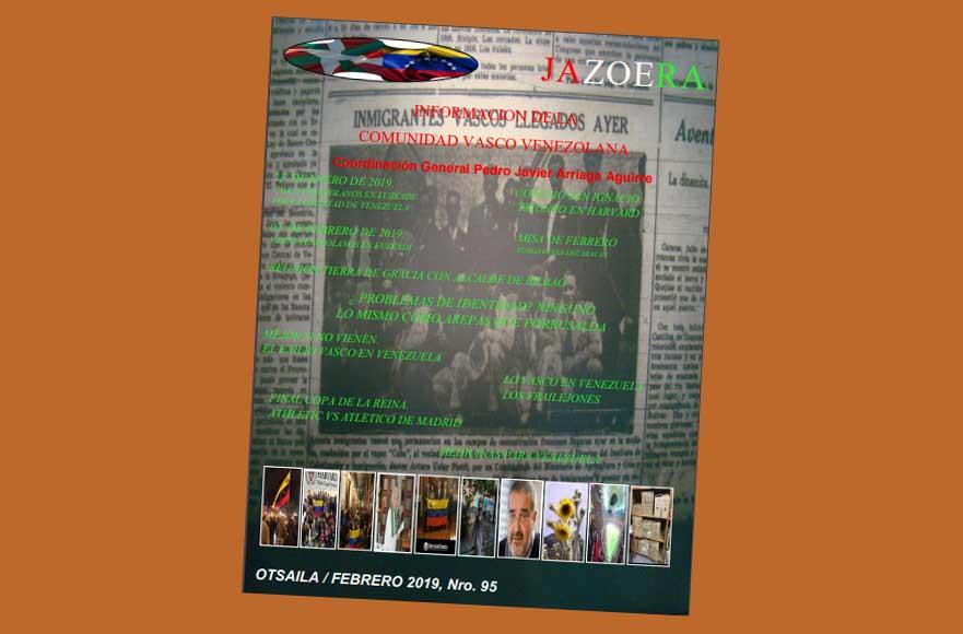 Portada del número 95 de la revista vasco-venezolana Jazoera correspondiente a febrero de 2019