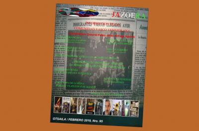 Cover of issue 95 of the Basque-Venezuelan magazine, Jazoera, corresponding to February 2019
