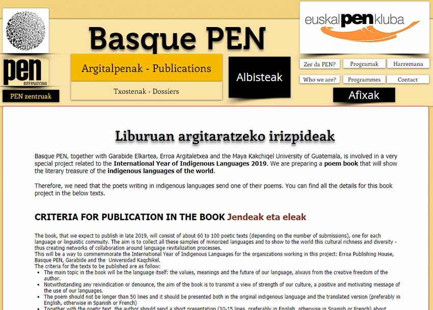 The call for poem submission on Basque PEN Kluba – Euskal Pen Kluba's webpage