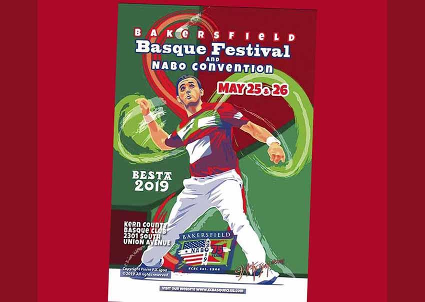 Cartel anunciador de la fiesta vasca de este fin de semana en Bakersfield, obra del diseñador local Pierre Igoa