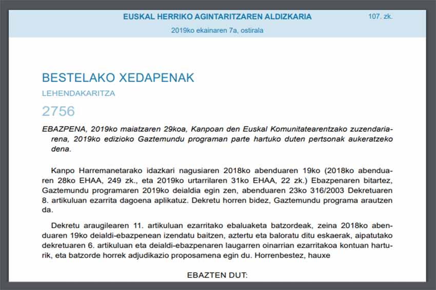 Resolución de Gaztemundu 2019, firmada por el director para la Comunidad Vasca en el Exterior del Gobierno Vasco