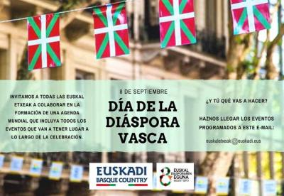 Deia egin du Eusko Jaurlaritzak Euskal Diasporaren Eguna ospatu de hitzorduaren xehetasunak aldez aurretik helarazteko