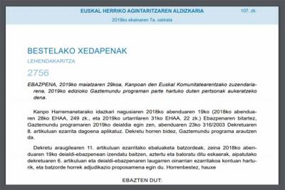 Gaztemundu Resolution signed by the Basque Government's Director of the Basque Community Abroad