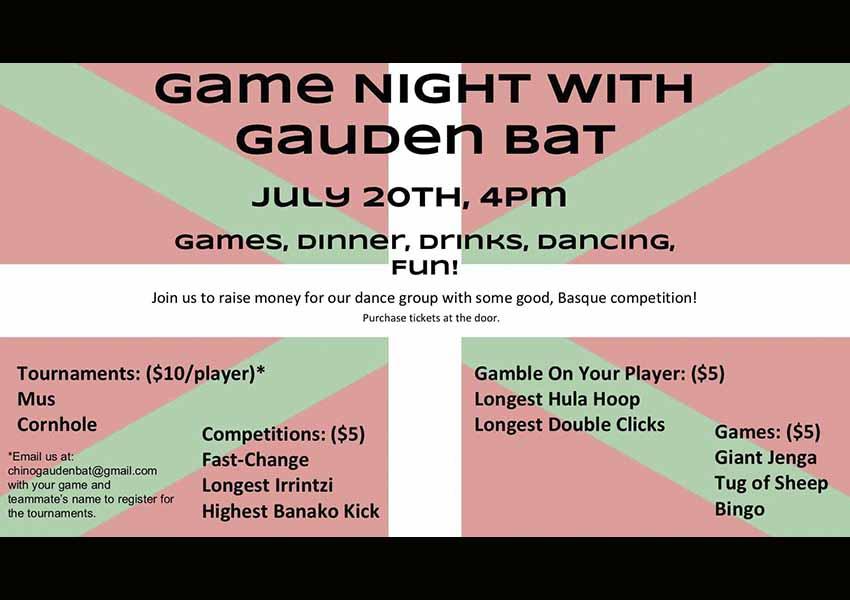 Pasa este sábado una agradable velada rodeado de amigos y ambiente vasco, al tiempo que ayudas a los dantzaris del Gauden Bat