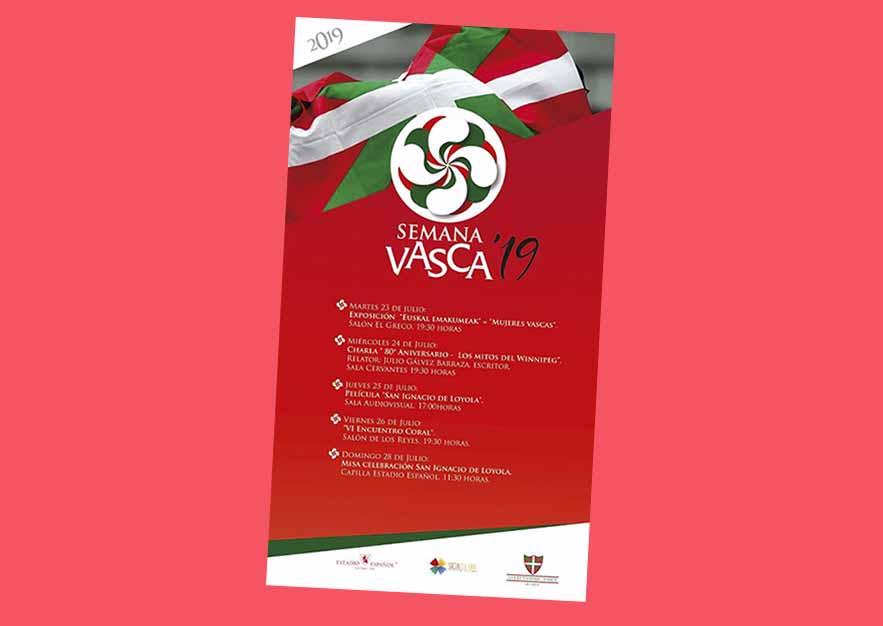 Cartel y programa de la Semana Vasca'19 que llevará a cabo la euskal etxea Colectividad Vasca de Chile del 23 al 28 de julio